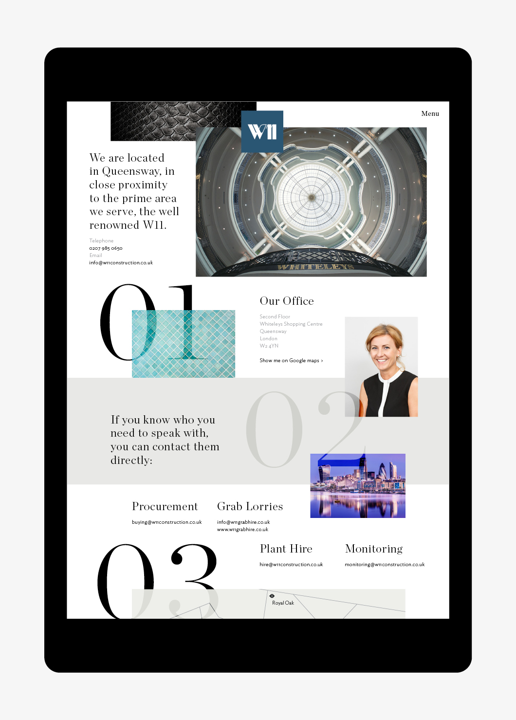 ipad showing web design