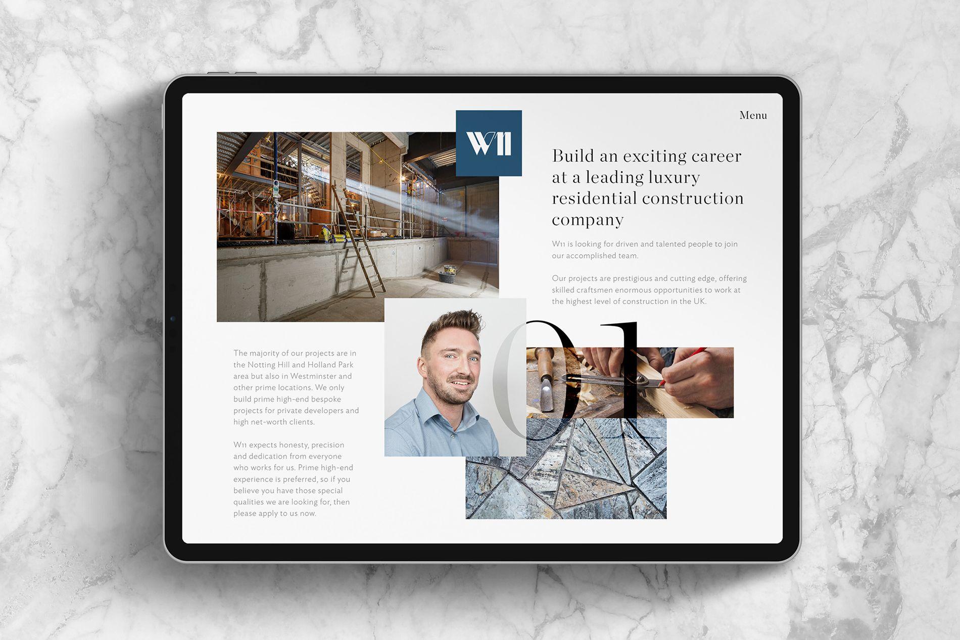 ipad showing web design