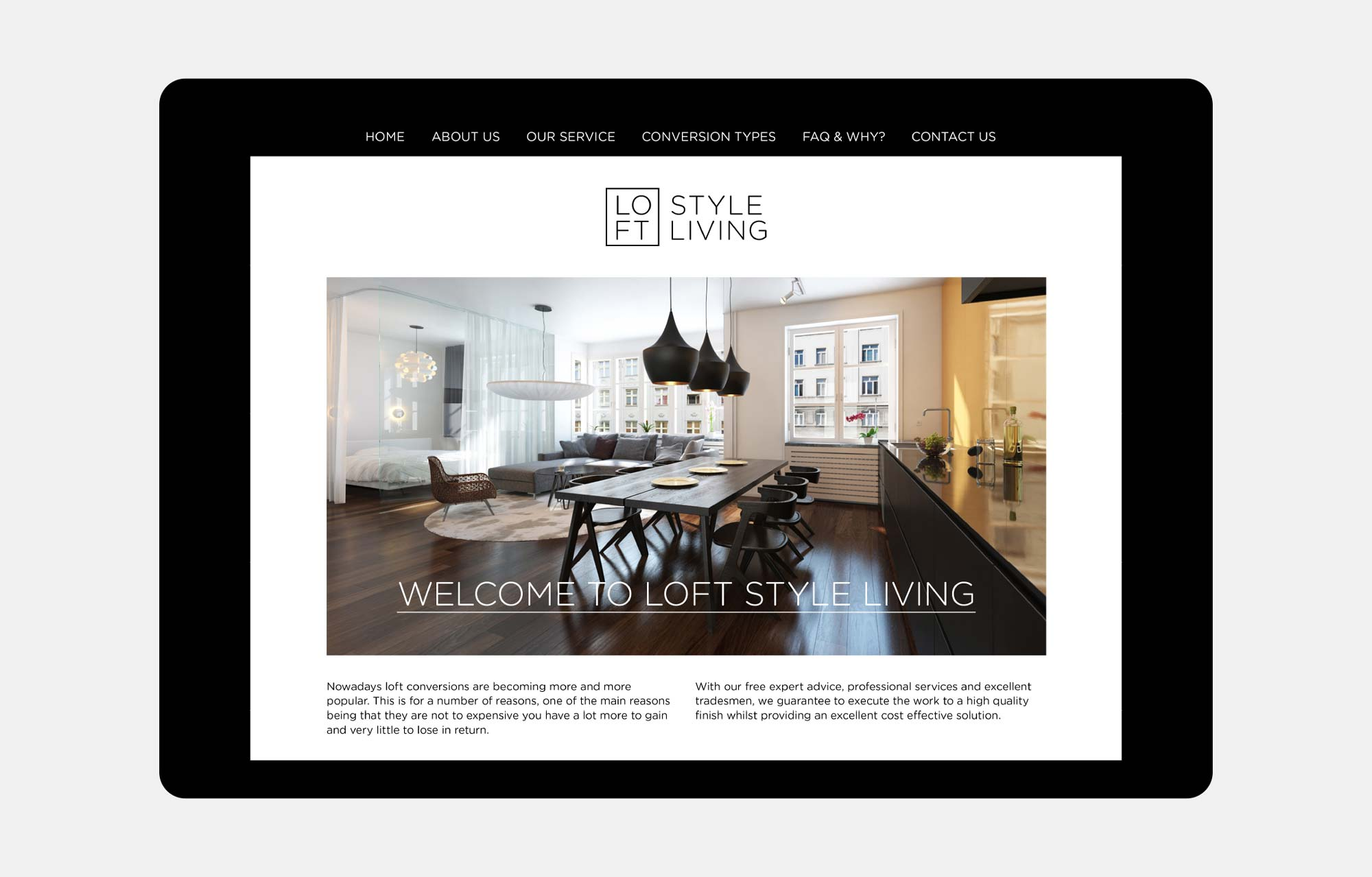 loft company website design