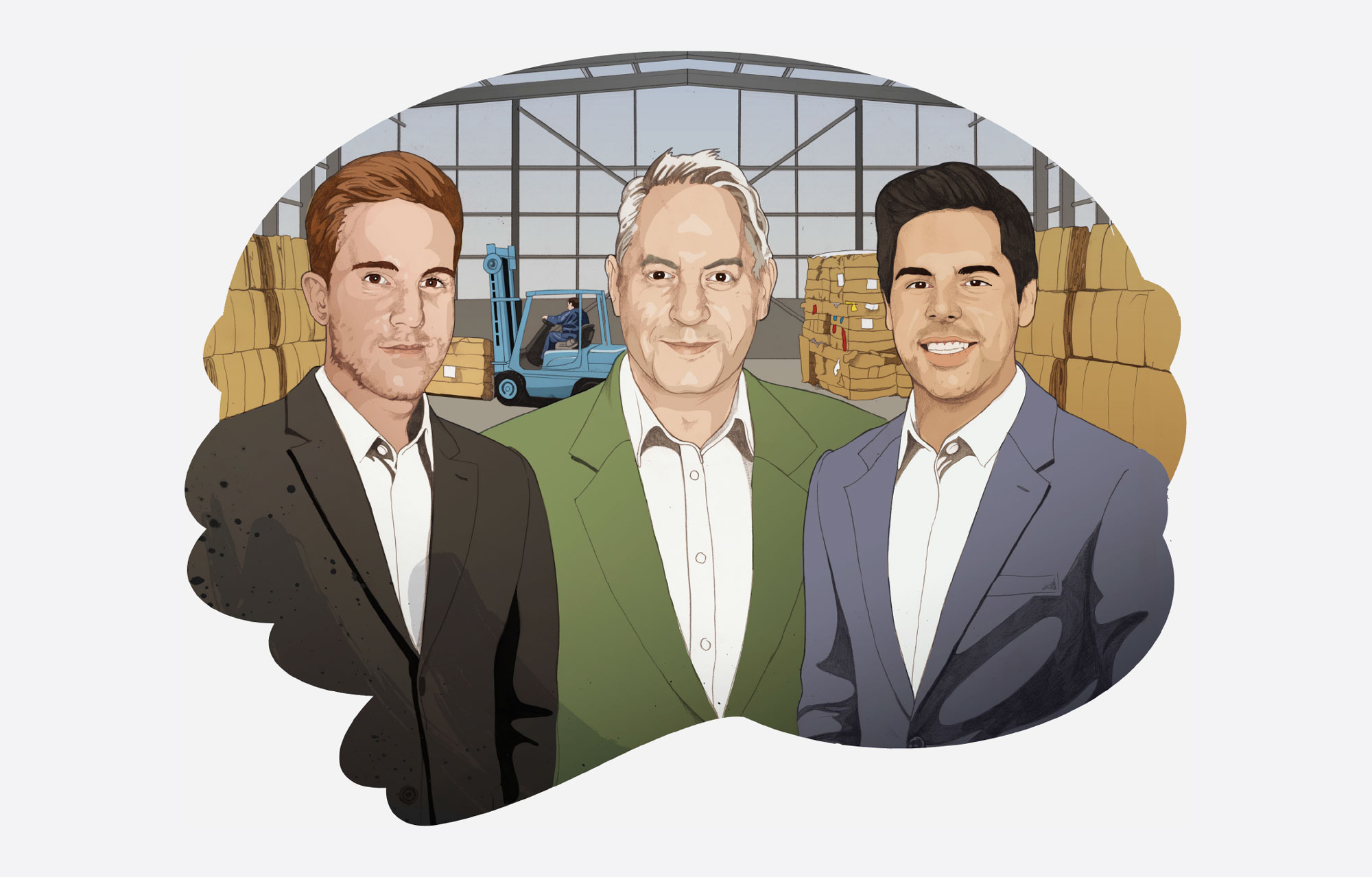 custom illustration of the founders