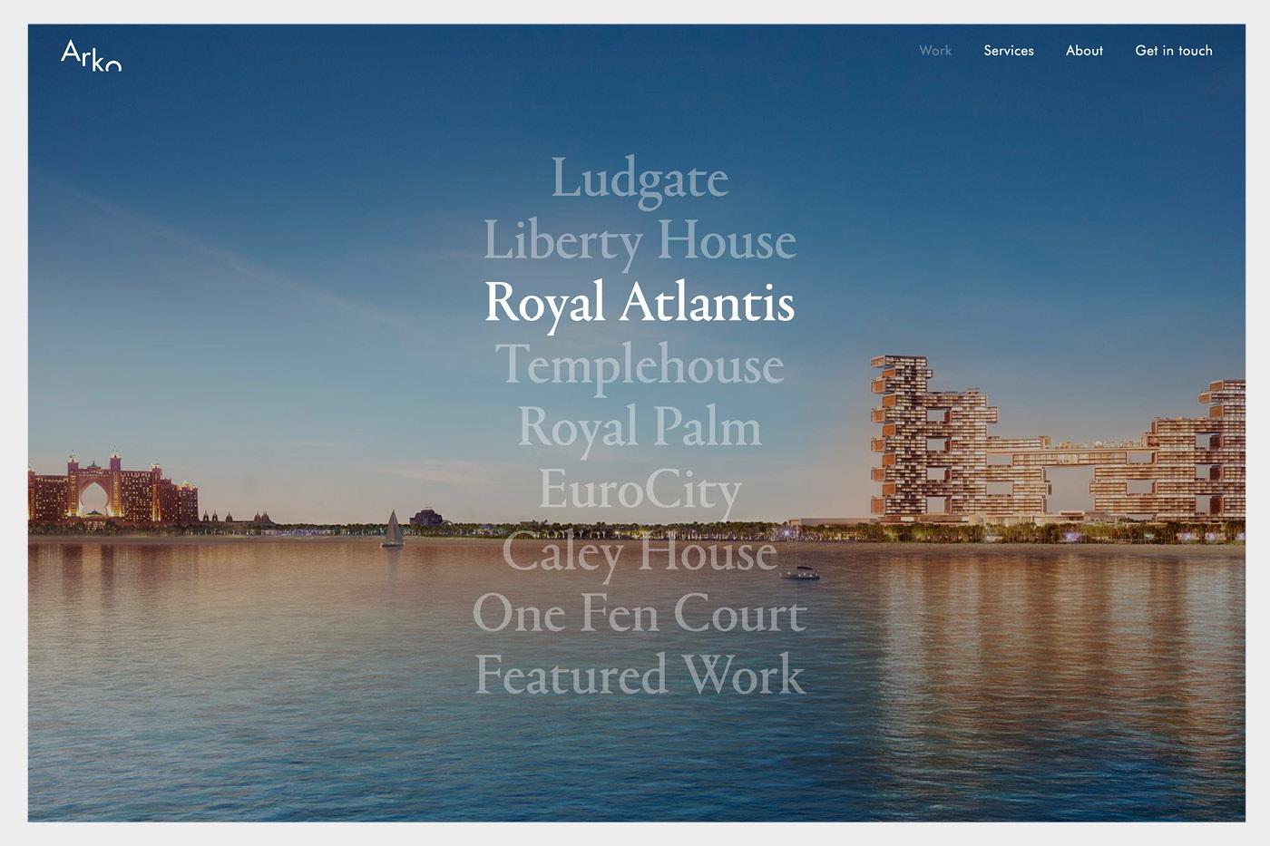 best architecture websites menu rollover